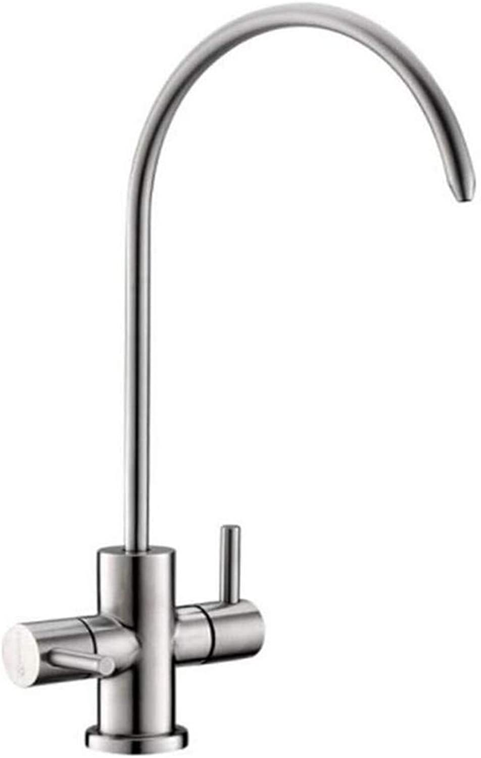 Chrome-Plated Stainless Steel Brass High Quality Sink Dual Outlet Water Purifier Faucet Double Hole 304 Stainless Steel Lead-Free Direct Drinking Faucet