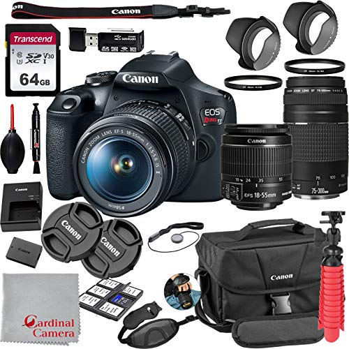 Great Features Of Canon EOS Rebel T7 18-55mm f/3.5-5.6 is II + 75-300mm f/4-5.6 III Kit + 64GB SD Ca...
