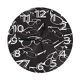 Lewiuzr Orologio da Parete,Occhiali da Vista in Modello Stile Vintage,Orologio da Tavolo Orologio da Scrivania Decorazioni per La Casa per Cucina, Soggiorno, Ufficio
