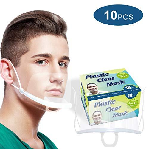 HXHU Gesichtsschutzschirm aus Kunststoff – Plexiglas Schutzmaske vor Staub, Speichel etc. für das Gesicht – effektiv & hygienisch (10 Stück)