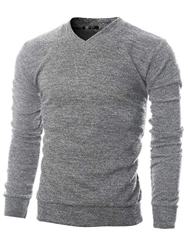 GIVON Mens Slim Fit Soft Cotton Blend V-Neck Pullover Sweater/DCP056-GREY-M