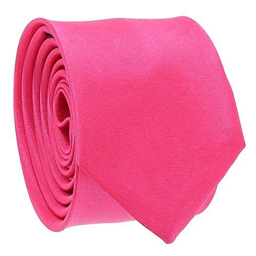 Cravate Fine Rose fushia - Cravate Homme Coupe Slim Moderne - 5cm à la Pointe - Couleur Unie - Accessoire Chemise pour Mariage, Cérémonie