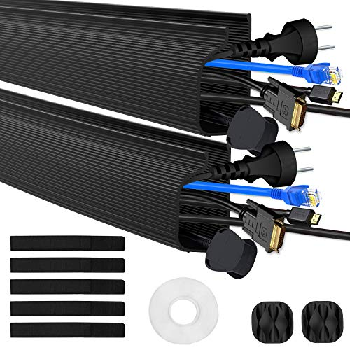 Kabelkanal Kabelmanagement Schreibtisch Kabelabdeckungen Verstecken für Büro und Zuhause, Schwarz, 2 Stück