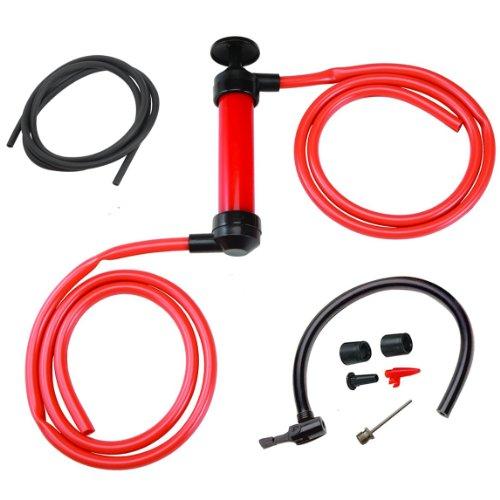 3-in-1 sifon-pomp/overvulpomp/luchtpomp/handpomp met balnaald voor het afzuigen en vullen van vloeistoffen zoals benzine en diesel olie en voor het opblazen van zwembadspeelgoed, waterballen