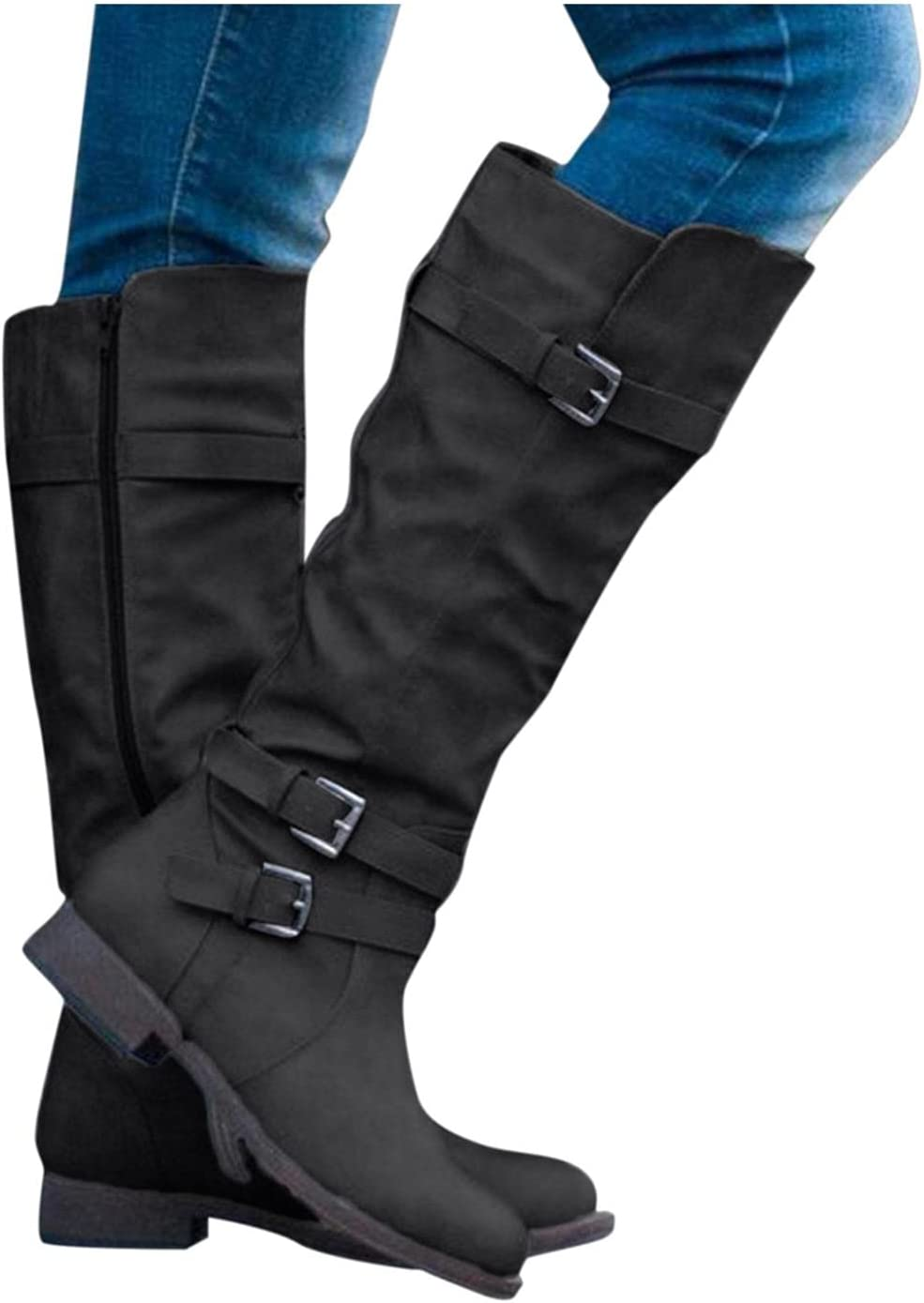 NOLDARES Boots for Women Chunky Low Heel Wedge Buckle Straps Side Zipper Platform Boots Western Solid Round Toe Mid Calf Boots