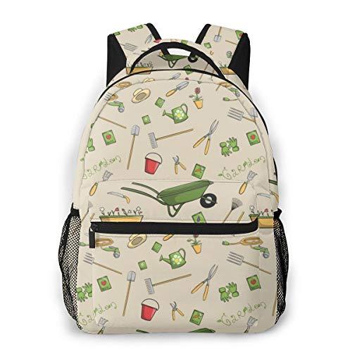 Decorative Garden Tools Seamless Wallpaper Laptop Schoolbag Casual Super Durable Backpack Lightweight Travel Sports