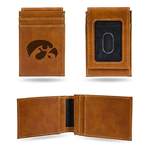 NCAA Rico Industries Laser Engraved Front Pocket Wallet, Iowa Hawkeyes, 2.75 x 4-inches