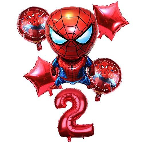 DONGMAISM Globo 1-9 años Spiderman Globo de Helio Hombre araña Super héroe de los Vengadores Fiesta de cumpleaños Globos Decoraciones Decoración de Fiesta (Color : 2)