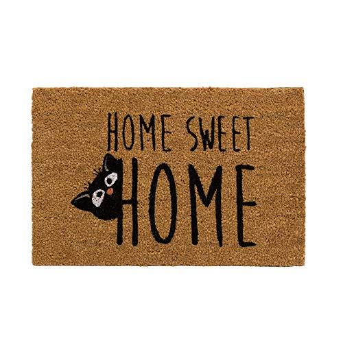 H HANSEL HOME Felpudo para Puerta Entrada Antideslizante para Entrada de Fibra de Coco 100% Natural- Marrón/Ngero Gato Hogar Dulce Hogar 40x60 cm
