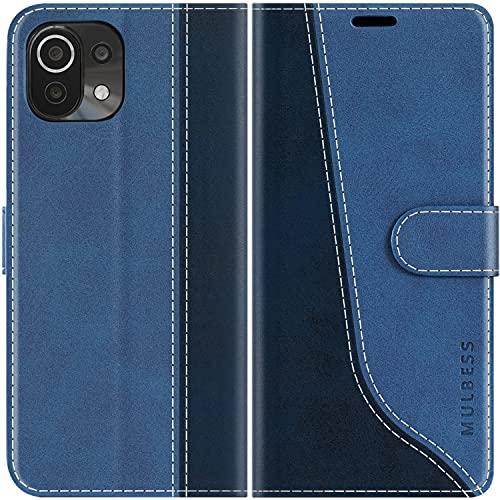 Mulbess Handyhülle Kompatibel mit Xiaomi Mi 11 Lite Hülle, Xiaomi Mi 11 Lite Hülle Leder, Etui Flip Handytasche Schutzhülle für Xiaomi Mi 11 Lite 5G Hülle, Diamant Blau