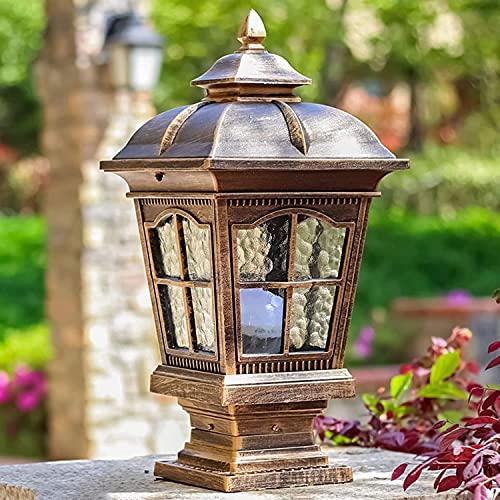 Naiyn Lámpara de columna de simplicidad Lámpara de poste antioxidante impermeable de estilo europeo Lámpara de columna de aluminio fundido a presión Lámpara de poste E27 para exteriores Iluminación de