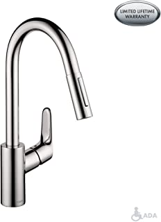 hansgrohe Focus Premium 1-Handle 16-inch Tall Kitchen Faucet with Pull Down Sprayer Magnetic Docking Spray Head in Chrome, 04505000
