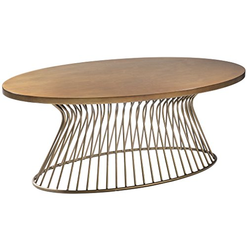 Madison Park Mercer Accent Metal Wired Frame Hour Glass Shaped Retro Design Mid-Century Modern Style Coffee Table, 48 Inch Wide, Bronze