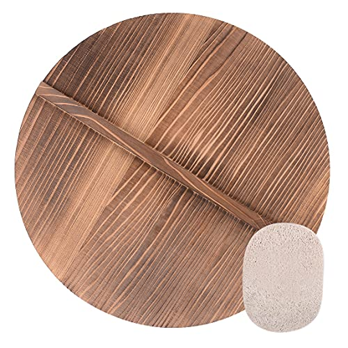 Wooden Lid For 14' Inch Cast Iron Wok Pot Cover With a Loofah Sponge For Washing