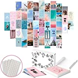 TOTZIE Aesthetic Wall Collage Kit - Aesthetic Wall Decor - Photo Collage Kit for Wall Aesthetic - Cute Room Decor for Teen Girls Picture Wall Collage - VSCO Room Decor Teen Wall Decor Boho Decor for Bedroom (50 Blue/Pink 4x6 Photos with Tape Sheets)