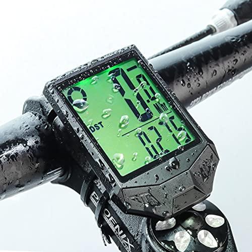 自転車スピードメーター サイクルコンピューター 自転車コンピューター発光 防水 ワイヤレス 自転車コード表 走行距離計BY PRUNUS
