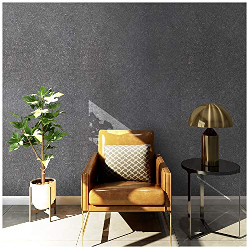 "HaokHome 3024 Non Woven Silk Black Wallpaper Fiber Textured Wall Paper for Home Bedroom Kitchen Bathroom Wall Decoration 20.8"" x 393.7"""