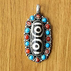 Jtivcs PN080. Ethnische tibetische Silber Zwei Augen Dzi Perle Anhänger Halskette Nepal Handgemachter Schmuck