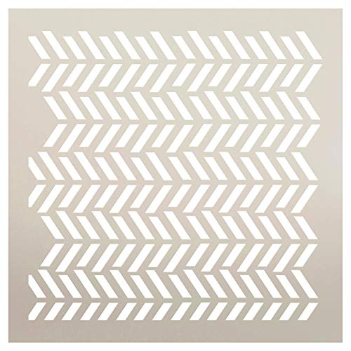 Fun with Shapes Herringbone Stencil by StudioR12 | Wood Sign | Reusable Mylar Template | Wall Decor | Multi Layering Art Project | Journal Art Deco | DIY Home - Choose Size (12' x 12')