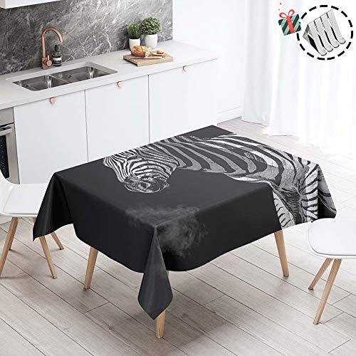 Stillshine Tischdecke Garten Abwaschbar, Quadratisch/Rechteckig Wasserdicht 3D Drucken Tischdecken Ölbeständige für Gartentisch Tischdekoration Outdoor Party (Schwarzes Zebra,60x60cm)