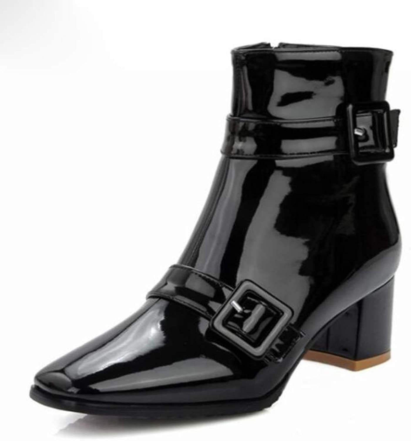 Autumn and Winter Women's Boots Square Buckle Patent Leather Square Head Women's Boots Large Size Martin Boots Thick with Ankle Boots and Ankle Boots