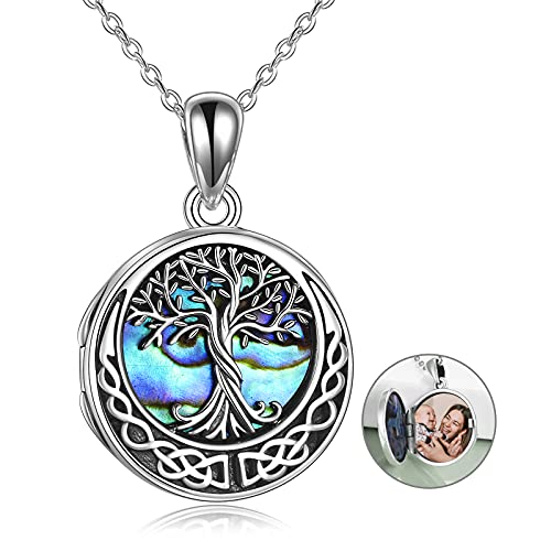 Tree of Life Locket Necklace Sterling Silver Locket Necklace That Holds Pictures Celtic Knot Tree of Life Locket Pendant Mother's Day Gifts for Women