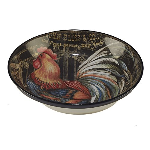 "Certified International 23660 13"" x 3"" Gilded Rooster Serving/Pasta Bowl, One Size, Multicolor"