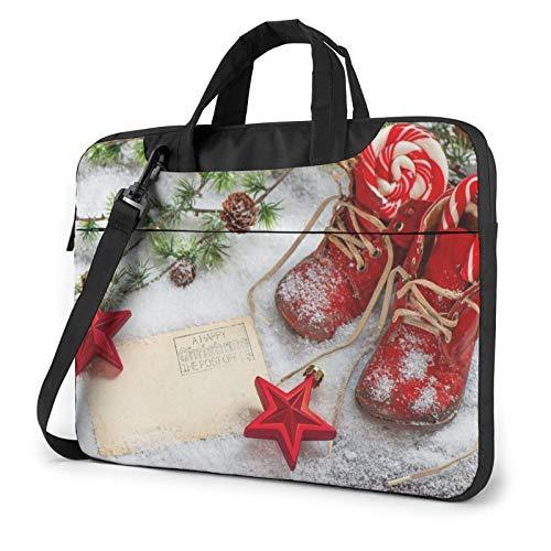 Snow Red Christmas Shoes Laptop Bag Briefcase Shoulder Mesenger Bag for Women Men 14 Inch