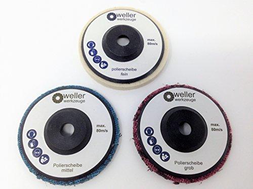 3x Polierscheibe Set Polierrad passend für Bosch GWS 10,8 10 8 12V 12 76 Berner Würth BTI Zubehör akku Winkelschleifer