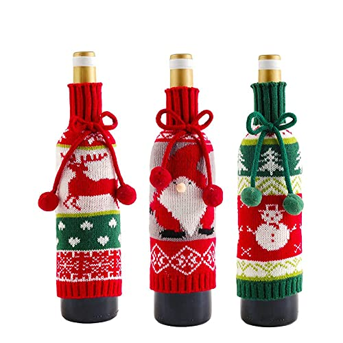 3 Piezas Tapa de Botella de Vino de Navidad,Cubierta de la Botella de Vino de Navidad,Navidad Botella de Vino Cubiertas Bolsas,para la Decoración del Partido,Navideñas,las Fiestas de Navidad