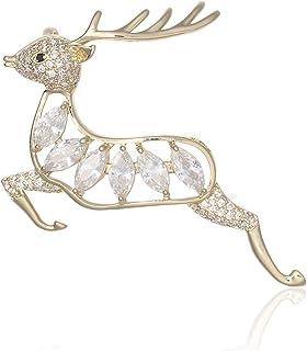 Europeo e Americano Christmas Sika Deer Diamante Tridimensionale Spilla Tridimensionale retrò Alloy Squisita Spilla di alc...
