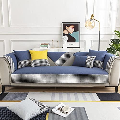KENEL Algodón Lavable Funda De Sofá para L-sofá, Funda de sillón Funda de sofá en Forma de l, Cojín de sofá de Lino de algodón para Todas Las estaciones-90 * 160 cm_Azul Oscuro-Vendido en ped