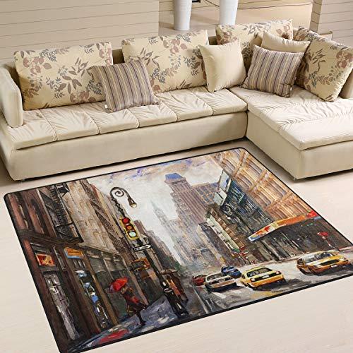 Use7 Oldtimer-Teppich New York City Street Cityscape Area Teppich für Wohnzimmer Schlafzimmer 203 cm x 147,3 cm