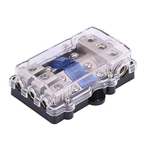 Boîte de porte-fusibles à lame universelle, DC 12–24 V, kit de blocs d'alimentation audio stéréo pour voiture, bateau, 1 entrée et 3 sorties avec fusible à 3 lames