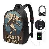 Glauben Sie an Bigfoot USB-Rucksack 17 in Reiserucksack Multifunktionale College-Büchertasche mit USB-Ladeanschluss