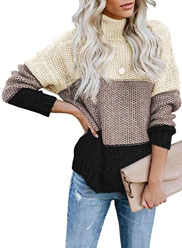 FIYOTE Damen Strickpullover Farbblock Pullover Casual Winter Sweater Sweatshirt Winter Bluse Streifenpullover 4 Farbe S/M/L/XL/XXL, Rollkragen-schwarz, Large(EU42-EU44)