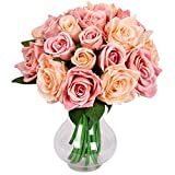 Famibay Ramo de Fores Rosas Artificiales Seda 2 Piezas Rosas Ramo de Novia para Hogar Boda Centro de mesa Decoración
