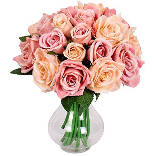 Famibay Rose Künstliche Blumen 18 Rosen 2 Blumensträuße für Hochzeit Seidenblumenstrauß(Champagner,Keine Vase)
