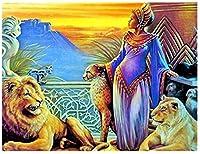 XIZYUダイヤモンド絵画5DDiyライオンとフルダイヤモンド刺繍アフリカの女性ラインストーンクロスステッチモザイクステッカー、新年あけましておめでとうございます装飾40X50Cm