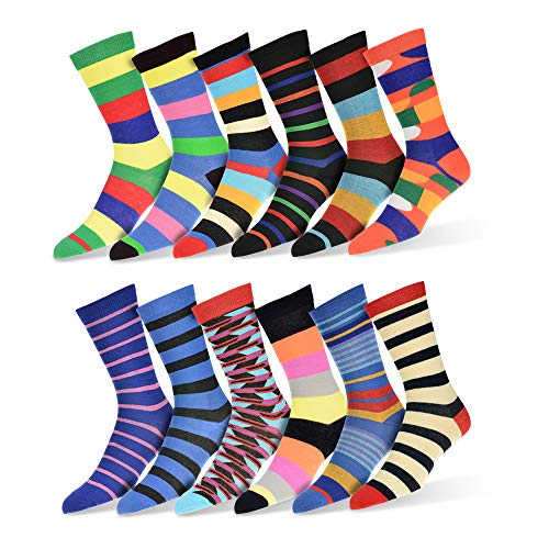 """Robert Shweitzer Mens Fun Funky and Colorful Patterned Dress Socks with Cool and Crazy Designs -""""12 Pack"""" (Collection D)"""