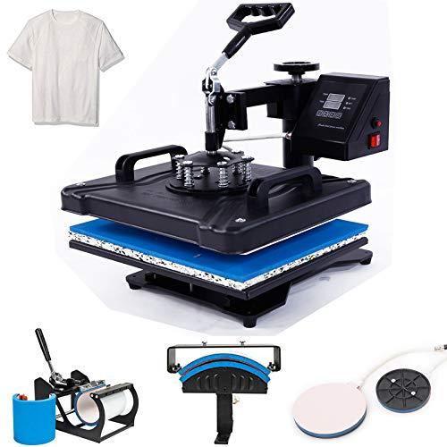 12''X15'' Heat Press Machine Digital Heat Press Machine 5-in-1 Transfer Sublimation Easy Press Machine Swing Away Power Pressing Printing Machine (Black)