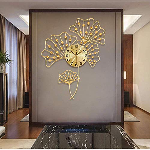 DIEFMJ Reloj de pared de hierro forjado dorado Reloj de pared Flash Diamond Material Sallor Reloj decorativo de hierro forjado para el hogar Reloj de pared Mute Cuarzo Electrónico Tamaño 88 cm x 69 cm