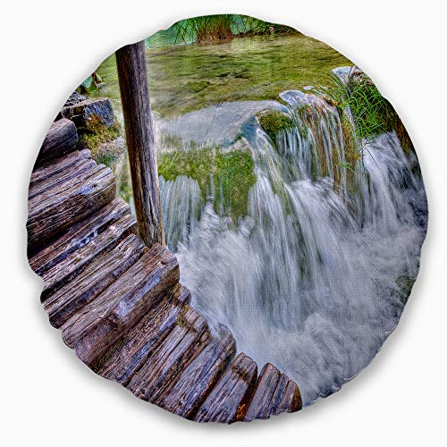 Designart Waterfall In Plitvice Lakes Landscape Photo Round 16 Shefinds