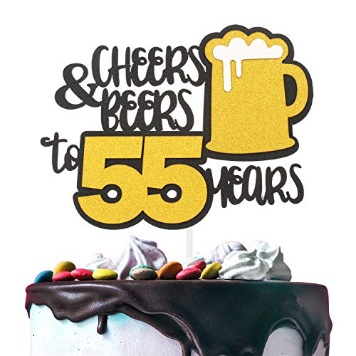 Cheers & Beers to 55 Years Gold Glitter Cake Topper Happy Birthday Wedding Anniversary 55th Party Decoration - 7'' x 8'' Fifty-five Bday Topper.