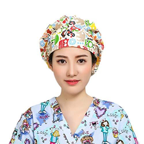 SOIMISS Gorro de Trabajo de Algodón con Banda para El Sudor Elástico Ajustable Turbante Bufanda para La Cabeza a Prueba de Polvo para Mujer