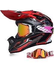 YASE motorhelm crosshelm met bril, motocross helm/enduro downhill helm, offroad motorbril heren / dames Full Face MTB helm voor bromfiets / ATV / mountainbike XL (58-59CM) zwart/rood/wit