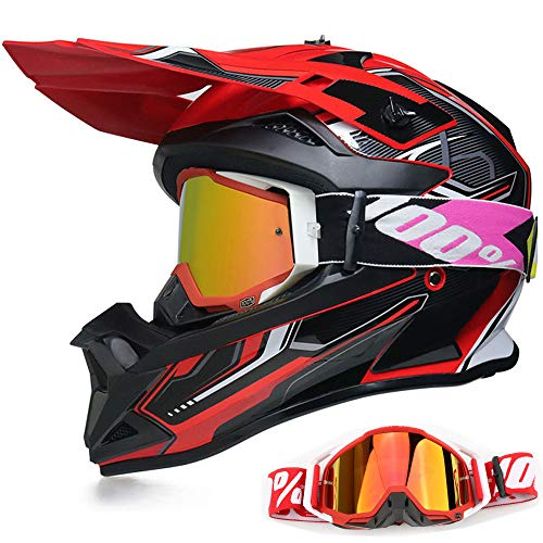 YASE Motorradhelm Crosshelm mit Brille, Motocross Helm/Enduro Downhill Helm, Offroad Motorradbrille Herren/Damen Full Face MTB Helm für Moped/ATV/Mountain Bike (Schwarz/Rot/Weiß,L (56-57CM))
