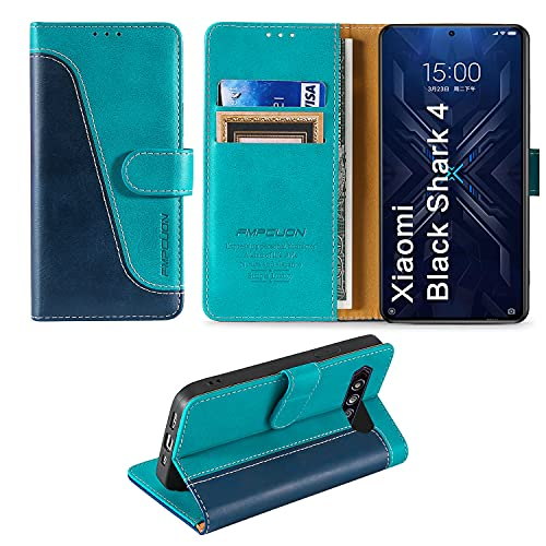 FMPCUON Handyhülle für Xiaomi Black Shark 4/Xiaomi Black Shark 4 Pro Hülle Leder,Premium Klapphülle Handytasche Flip Hülle Handy Hüllen Schutzhülle für Xiaomi Black Shark 4 (6.67 Zoll),Blau/Grün