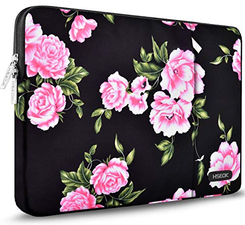 HSEOK Laptop Sleeve 15-15.6 Inch Case, Spill-Resistant Bag for 15.4-Inch MacBook Pro A1286, MacBook Pro Retina A1398 & Most 15.6-Inch Lenovo Dell Toshiba HP Asus Acer Notebook,Peony