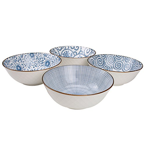 YALONG 40 Ounce Large Deep Soup Pho Bowls Set, Blue White Porcelain Salad Bowls for Ramen Pasta Cereal Pasta Wonton, Stackable Deep Noodle Serving Bowls Set of 4 for Fathers Day Gifts